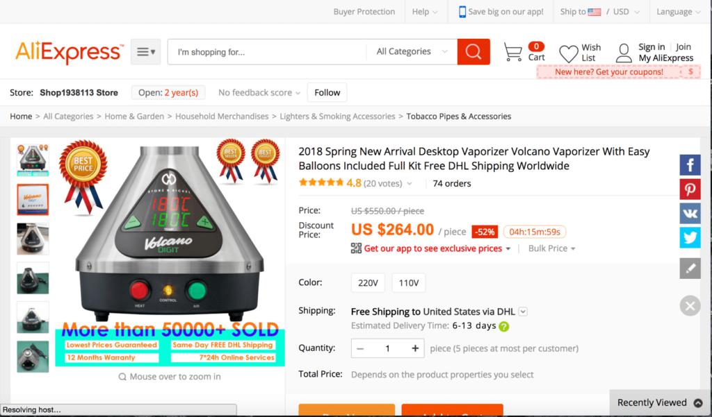 Fake Volcano Desktop Vaporizer AliExpress