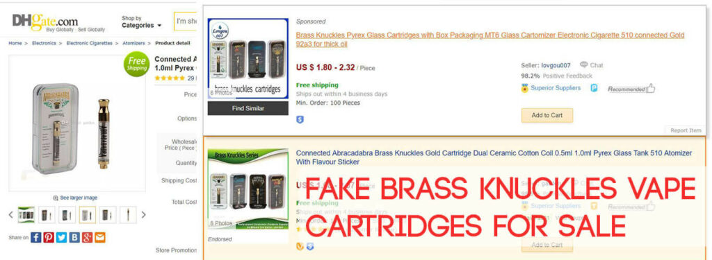 Fake Brass Knuckles Vape Cartridges