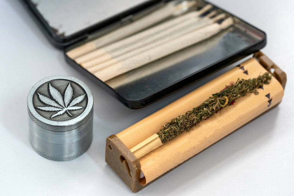 Cannabis and a grinder