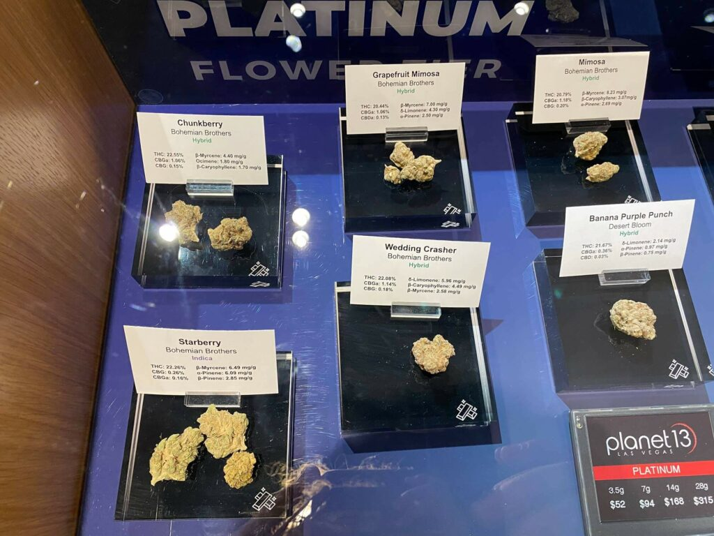 Cannabis strains on display at the Planet 13 dispensary in Las Vegas.