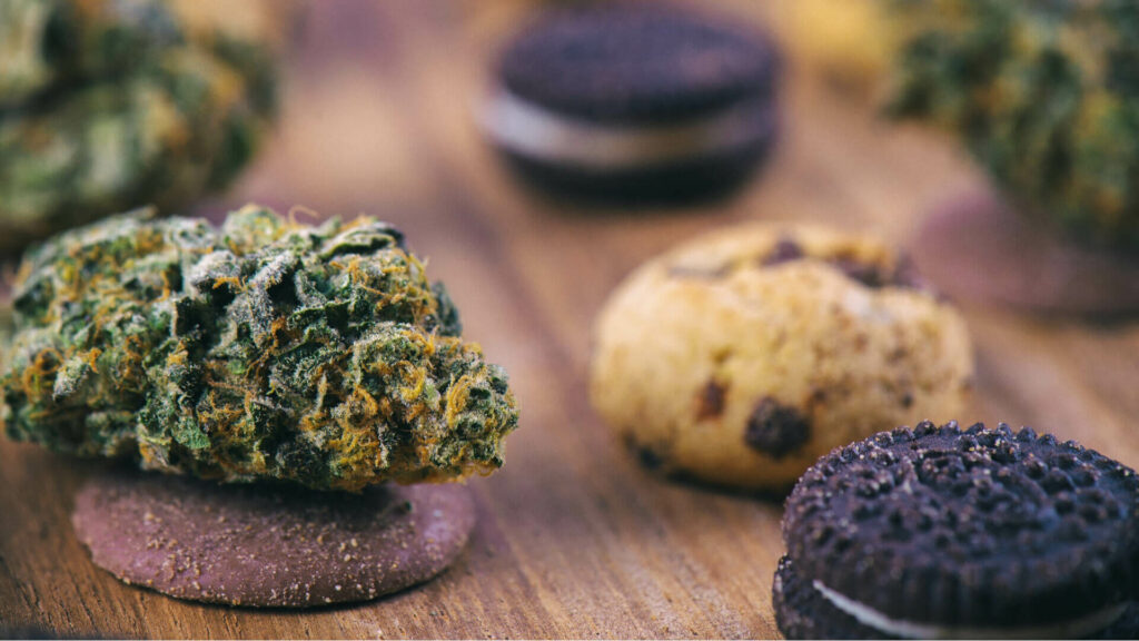 cannabis nugs over infused chocolate chips cookies