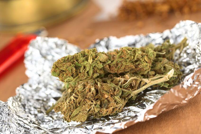 Dried flowers of Cannabis sativa on tinfoil