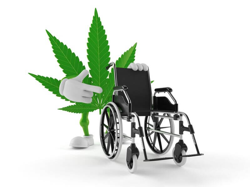 Cannabis character with wheelchair isolated on white background. 3d illustration