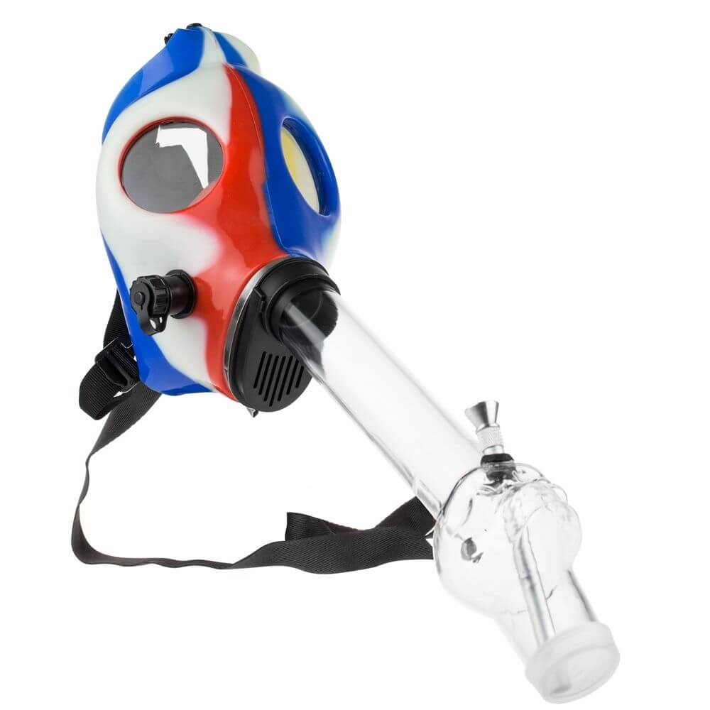 grass city red white blue gas mask bong