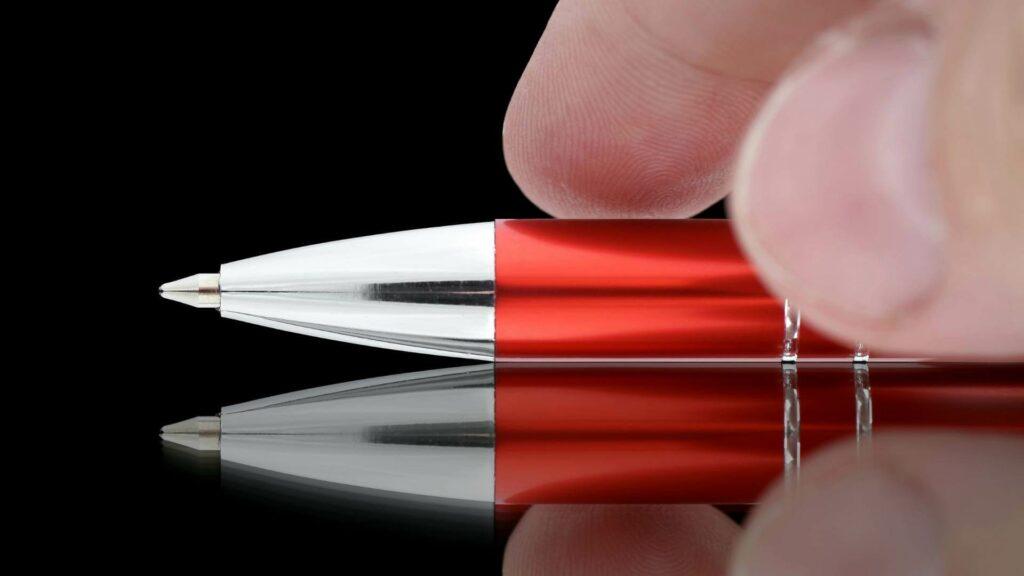 A red ballpoint pen