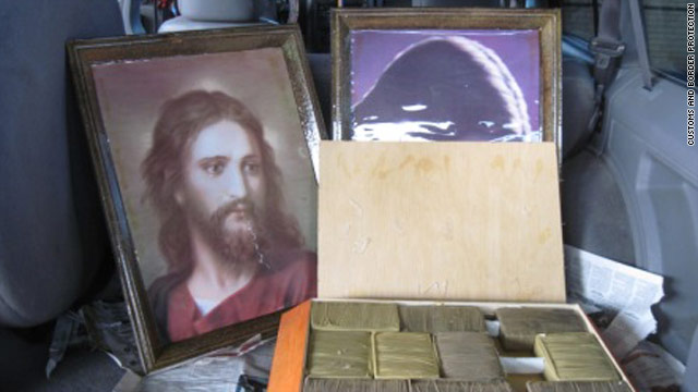 A picture of Jesus Christ with cannabis hidden inside