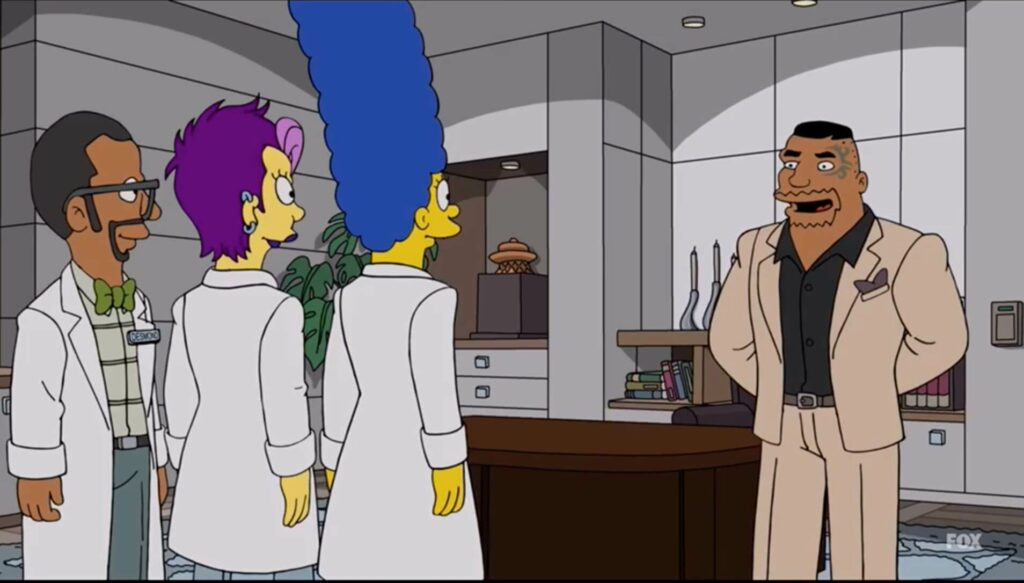 Marge works in a dispensary owned by Drederick Tatum