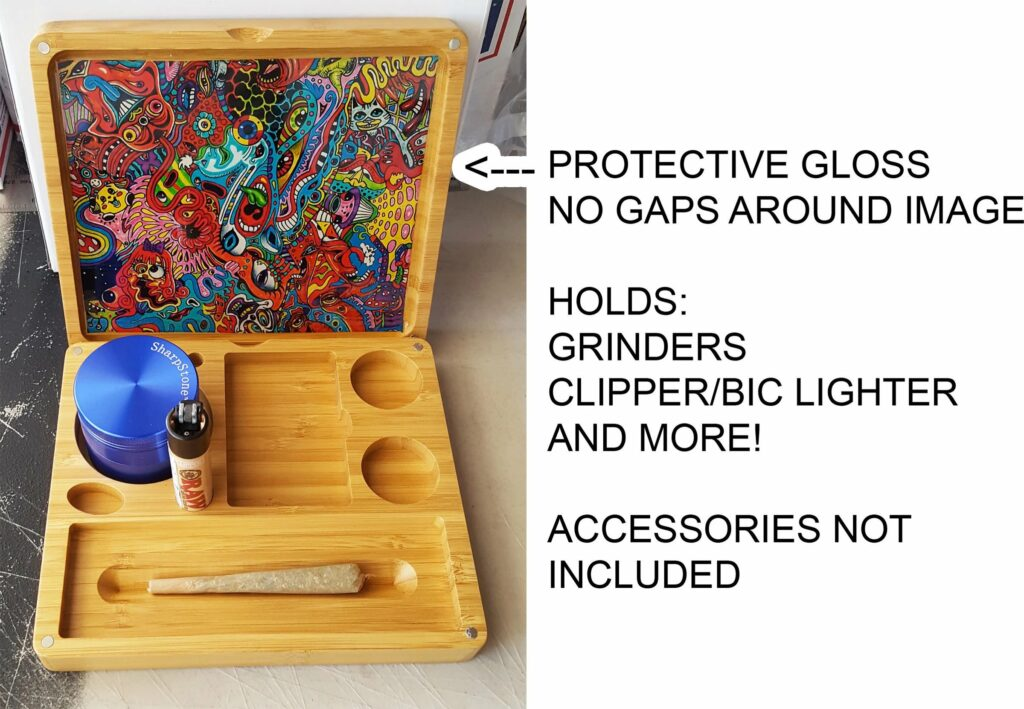 Custom Magnetic Wooden Bamboo Stash Box and Rolling Tray